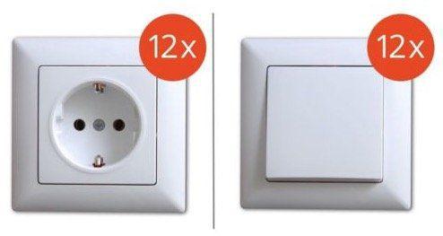 12er Pack Gunsan Visage Steckdose oder Ein/Aus Schalter (Unterputz) mit Rahmen für je 16,99€