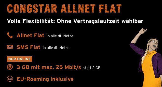 Preisfehler? 3 Monate Congstar Allnet Flat mit 3GB komplett gratis (ohne Laufzeit!)   Wert 80€!
