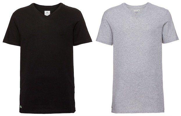 3er Pack Lacoste Herren T Shirts mit Rundhals oder V Ausschnitt für je 24,94€