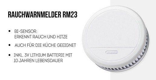 Abus RM23 Rauchwarnmelder mit Hitzewarnfunktion für 11,99€ (statt 22€)