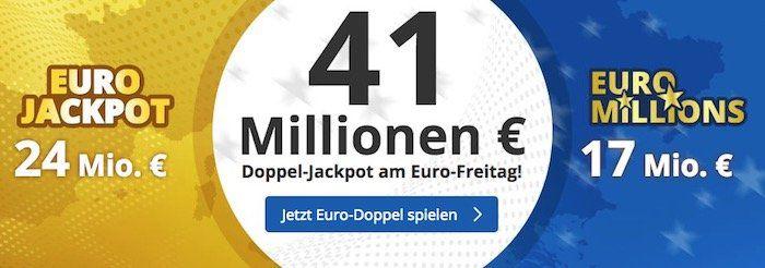 8 Felder EuroJackpot (24 Mio. €) + 5 Felder EuroMillions (17 Mio. €) für 16,95€ (statt 30€)