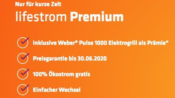 Gratis Weber Puls 1000 E Grill (im Wert von 649€) bei lifestrom Premium Stromtarif Abschluss