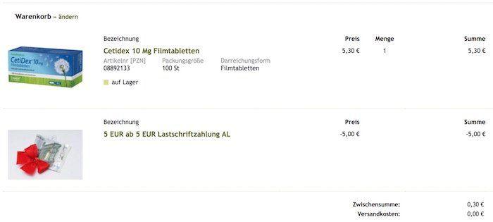 Knaller! 100er Pack Cetidex 10mg Filmtabletten für nur 0,30€ (statt 10€)