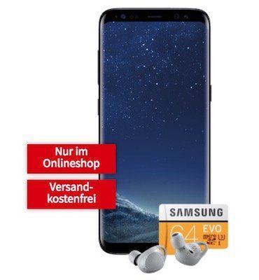 Samsung Galaxy S8 + Gear IconX + 64GB Speicherkarte für 4,99€ (Wert 631€) + Vodafone 50 Min./SMS + 1GB Daten für 19,99€ mtl.