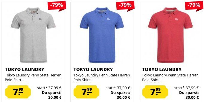 Tokyo Laundry Sale   z.B. Poloshirts ab 7,99€