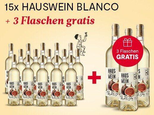 15 Flaschen Hauswein Nr. 2 Blanco + 3 Flaschen gratis für 67,50€