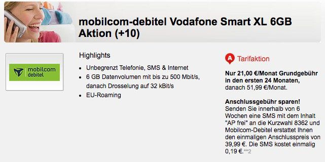 Vodafone Smart XL Allnet Flat mit 6GB LTE für 21€ mtl.