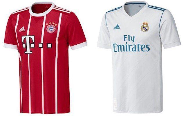 adidas Bayern München und Real Madrid Trikot (Home, Away, CL) für je 49,95€