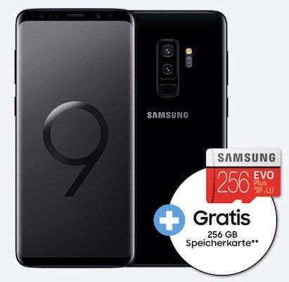 Samsung Galaxy S9+ für 4,95€ + gratis 256GB Speicherkarte + Vodafone Flat mit 8GB LTE für 51,99€ mtl.