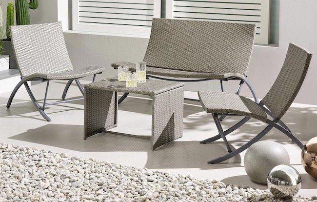 Loungegarnitur Vicky mit 2 Sitzer Bank, 2 Stühlen und Tisch für 89€