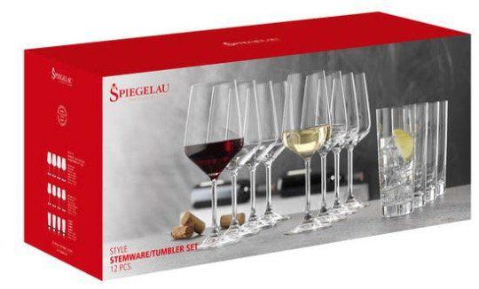 Spiegelau Gläser Set Style 12 teilig (8x Wein, 4x Longdrink) für 22,95€ (statt 30€)