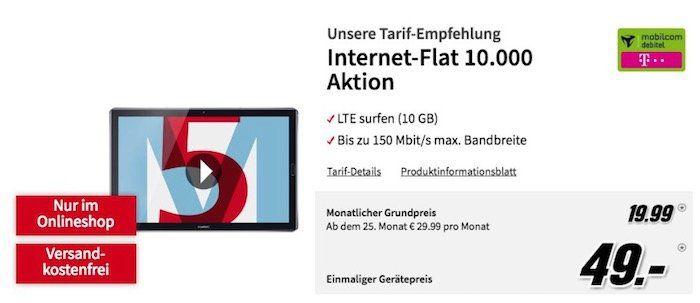 TOP! Huawei MediaPad M5 10,8 Zoll LTE Tablet + 32GB microSD für 49€ + Telekom 10GB LTE Datentarif für 19,99€ mtl.