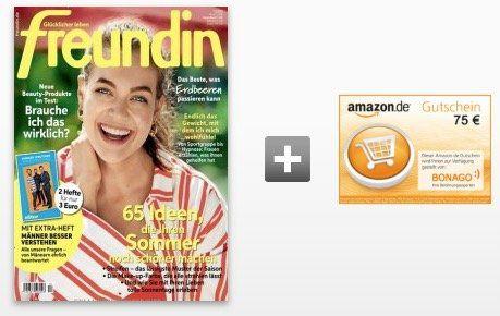 26 Ausgaben der Freundin für 78€ inkl. 75€ Amazon Gutschein