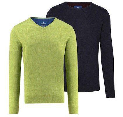Tom Tailor Herren Baumwollpullover mit V Neck oder Rundhals für je 19,90€