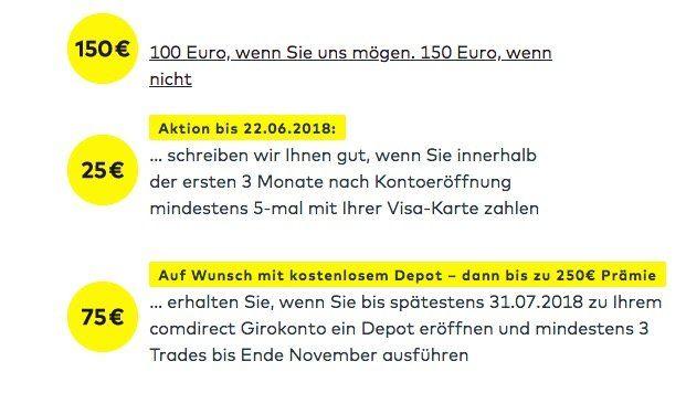 Bis zu 175€ Geschenkt für ein kostenloses Girokonto bei Comdirect