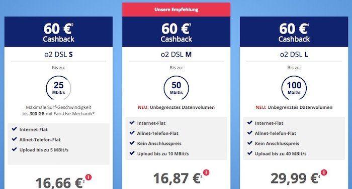 o2 DSL Angebote   z.B. DSL M mit 50 Mbit/s für 16,87€ mtl. dank 60€ Cashback + Kombi Vorteil möglich (bis zu 10€ Rabatt mtl.)