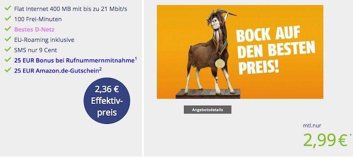 Klarmobil Telekom 100 Minuten + 400MB Datenvolumen für 2,99€ mtl. + 25€ Amazon Gutschein