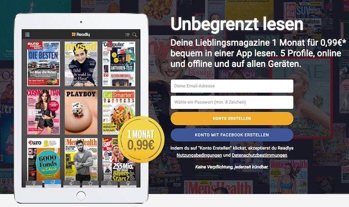 1 Monat Readly Magazin Flatrate für nur 0,99€ testen (statt 10€)