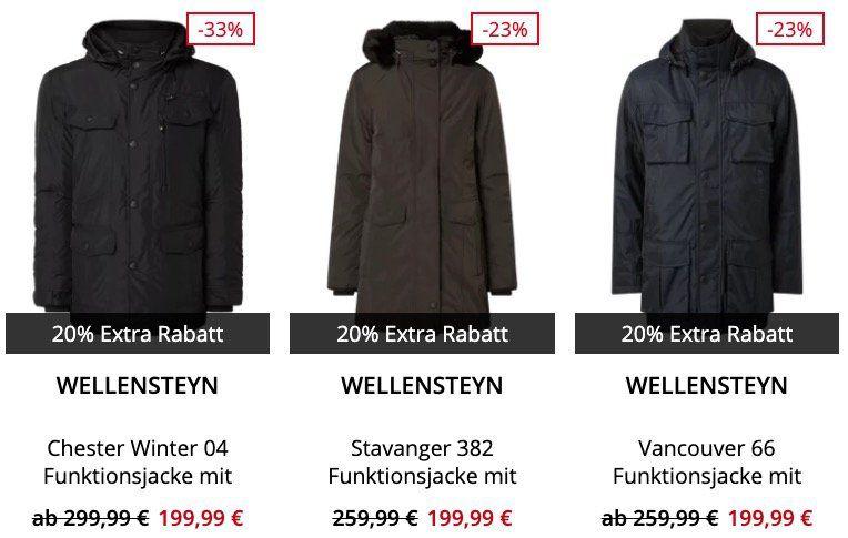 Jacken Sale bei Peek & Cloppenburg* + 20% Gutschein   z.B. Wellensteyn Chester Winter 04 für 159,99€ (statt 209€)