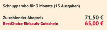 13 Ausgaben Der Spiegel im Abo für 71,50€ + Prämie: 65€ BestChoice Gutschein