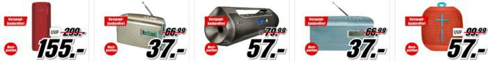 Media Markt Knallhart reduziert: günstige TVs, Lautsprecher, Radios und Boomboxen   z.B. YAMAHA RX V483 + Cinema 5 Heimkino System für 599€