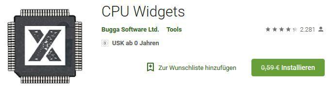 CPU Widgets (Android) gratis statt 0,59€