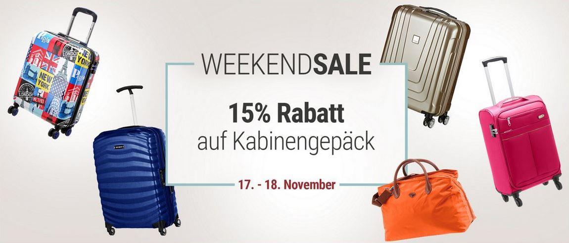 Koffer Direkt mit 15% Rabatt auf Kabinengepäck bis Mitternacht + weitere 5% bei Vorkasse