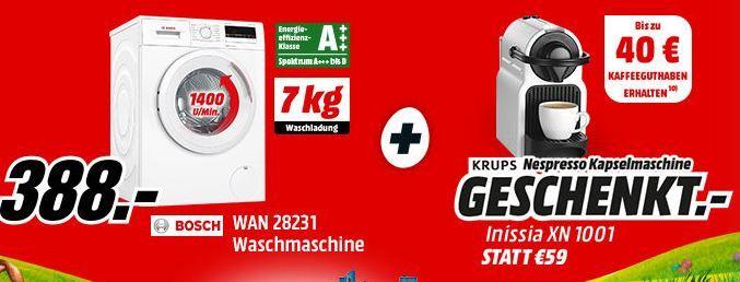 BOSCH WAN28231 Waschmaschine + KRUPS Nespresso Inissia Kapselmaschine + 40€ Kaffee Gutschein für 388€ (statt 527€)