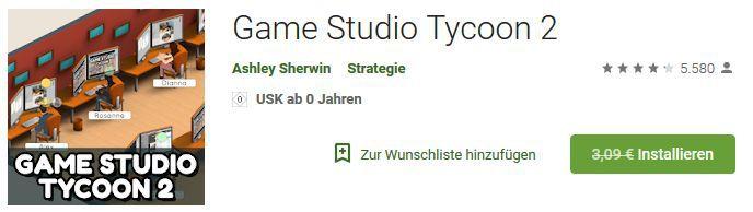 Game Studio Tycoon 2 (Android) gratis statt 3,09€