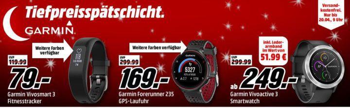 Top! Media Markt Garmin Tiefpreisspätschicht: günstige Tracker, Navis und Smartuhren