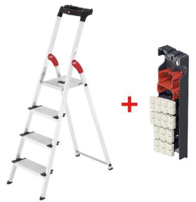 Hailo XXL EasyClix   Aluminium Sicherheits Haushaltsleiter 4 Stufen für 59,99€