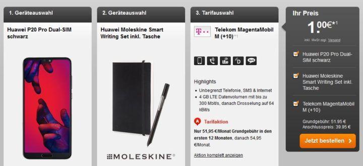 Top! Huawei P20 Pro + Moleskin Set für 1,  € + verschiedene Magenta Verträge ab 39,95€ mtl.