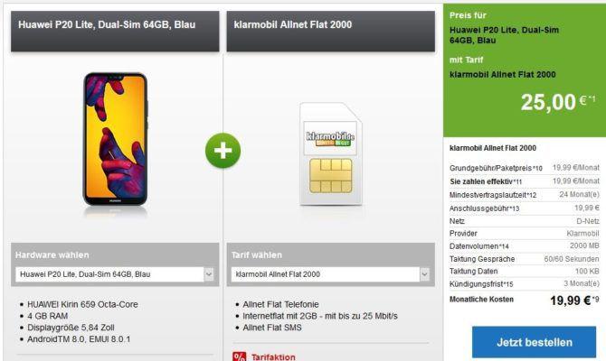 Huawei P20 Lite, Dual Sim 64GB für 25€ (o.a. Top Phones) + Telekom AllNet & SMS Flat + 2GB Daten für 19,99€ mtl.