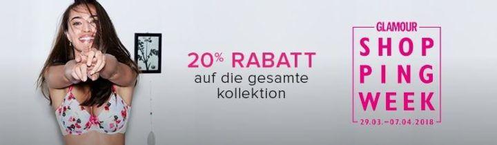 Hunkemöller Glamour Shopping Week mit 20% auf (fast) alles    günstige BHs, Slips, Nachtwäsche, Bikinis .....