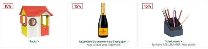 Galeria Kaufhof Sonntagsangebote   z.B. 20% Rabatt auf Golfsport, Uhren Schmuck... 15% auf Lego, Champagner uvam.