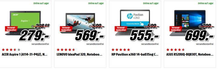 Media Markt: GiGaGünstig Notebooks Sale: z.B. ACER Aspire 1   14 Zoll Notebook für 279€