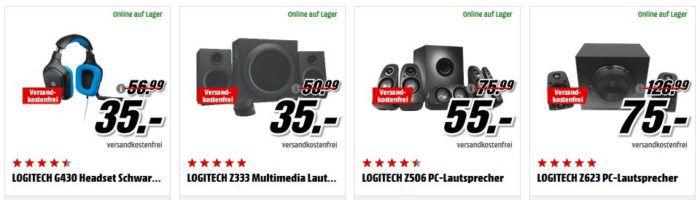 Media Markt Logitech Tiefpreisspätschicht   z.B. Logitech Z333 Multimedia Lautsprecher für 35€