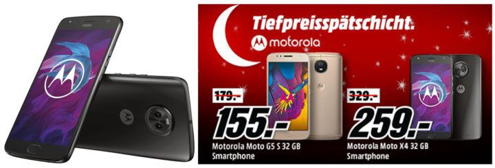 Media Markt Motorola Tiefpreisspätschicht   z.B. MOTOROLA moto x4 32 GB Dual SIM Smartphone für 259€