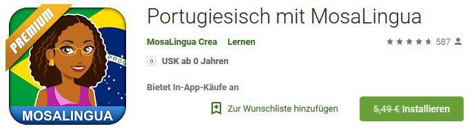 MosaLingua Premium – einfach Portugiesisch lernen (Android, iOS) kostenlos statt 5,49€