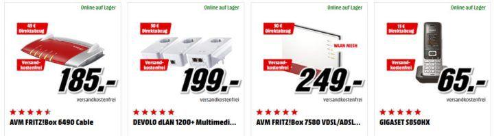 Media Markt Netzwerk Tiefpreisspätschicht: z.B. AVM FRITZ!DECT 210 smart Steckdose im Doppelpack für 77€
