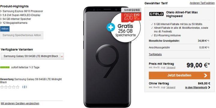 Samsung Galaxy S9 für 99€ + Vodafone Allnet Flat mit 6GB für 34,99€ mtl.