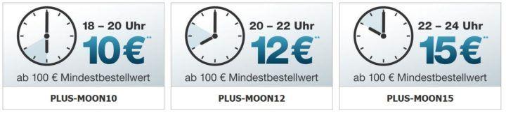 Plus.de Moonlight Shopping mit Staffelrabatten bis 15€ ab 100€ MBW