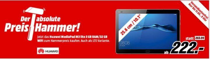 MM Preishammer: HUAWEI MediaPad M3 lite und andere   10,1 Tablet mit WiFi und 32 GB für 222€