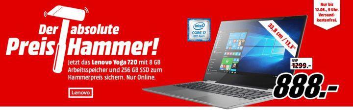 MM Preishammer: LENOVO Yoga 720 Convertible 256 GB 13.3 Zoll für 888€ (statt 1.199€)