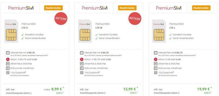 PremiumSIM Allnet Tarife ab 8,99€ mtl. (3   10 GB LTE, EU Paket   monatlich kündbar)