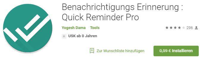 Quick Reminder Pro (Android) gratis statt 0,59€