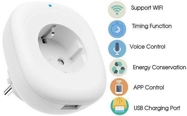 WLAN Steckdose mit USB (Alexa, Google Home & IFTTT) für 11,04€