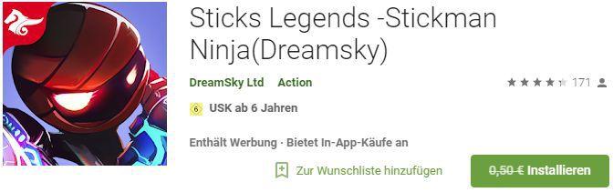 Sticks Legends  Stickman Ninja (Android) gratis statt 0,50€
