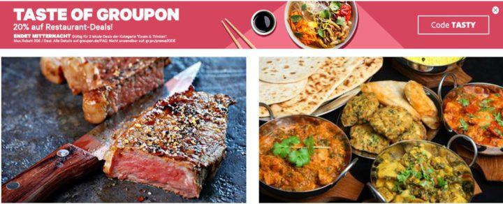 Groupon  mit 20% Rabatt auf Essen und Trinken bis Mitternacht