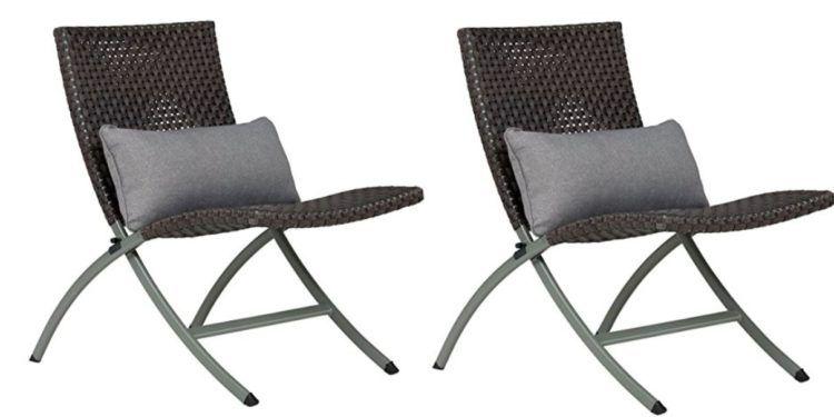 Topia Garten Polyrattan Stuhl mit Kissen im Doppelpack für 69,90€